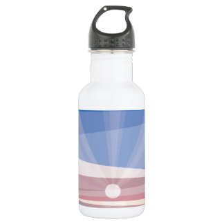 Sunrise on shore. Geometric abstract Water Bottle