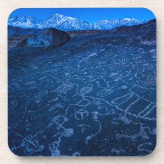 Sunrise On Sky Rock Petroglyph And Sierra Nevada Beverage Coaster