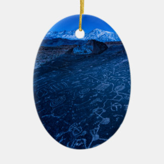 Sunrise On Sky Rock Petroglyph And Sierra Nevada Ceramic Ornament