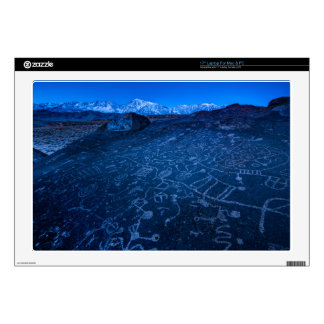 """Sunrise On Sky Rock Petroglyph And Sierra Nevada Decals For 17"""" Laptops"""