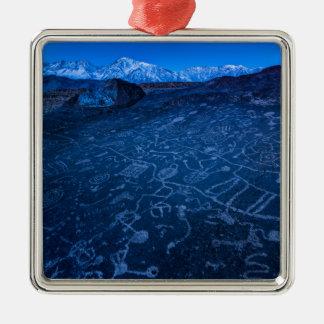 Sunrise On Sky Rock Petroglyph And Sierra Nevada Metal Ornament