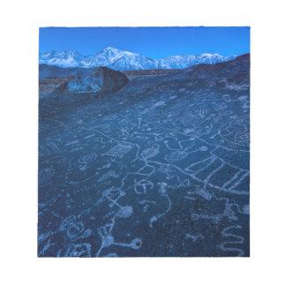 Sunrise On Sky Rock Petroglyph And Sierra Nevada Notepad