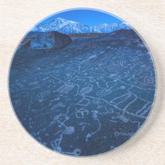 Sunrise On Sky Rock Petroglyph And Sierra Nevada Sandstone Coaster