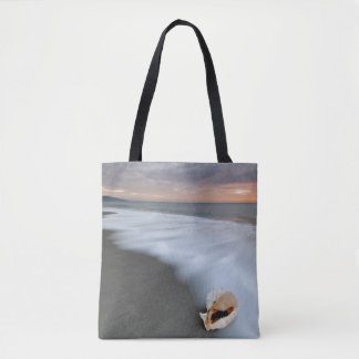 Sunrise On The Beach And A Shell Tote Bag