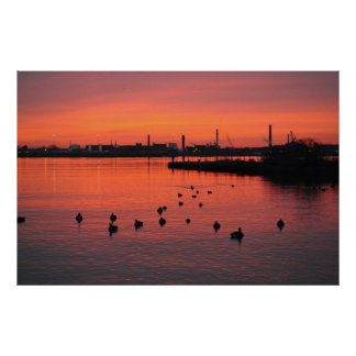 Sunrise on the Delaware River Poster