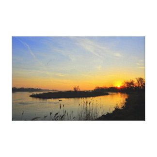 Sunrise on the Platte River Wrapped Canvas Stretched Canvas Print