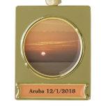 Sunrise over Aruba I Caribbean Seascape Gold Plated Banner Ornament