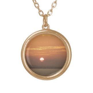 Sunrise over Aruba I Caribbean Seascape Gold Plated Necklace
