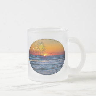 Sunrise over Atlantic Ocean Palms Tropical Plant 2 Frosted Glass Coffee Mug