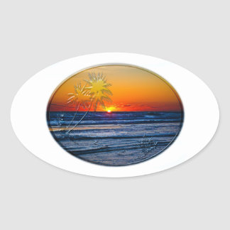 Sunrise over Atlantic Ocean Palms Tropical Plant 2 Oval Sticker