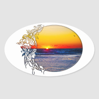 Sunrise over Atlantic Ocean Palms Tropical Plant 3 Oval Sticker