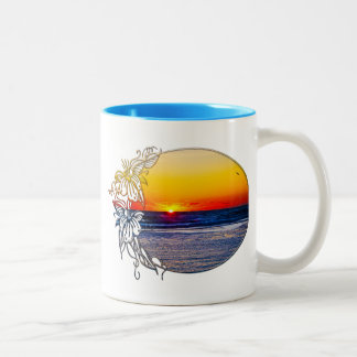 Sunrise over Atlantic Ocean Palms Tropical Plant 3 Two-Tone Coffee Mug