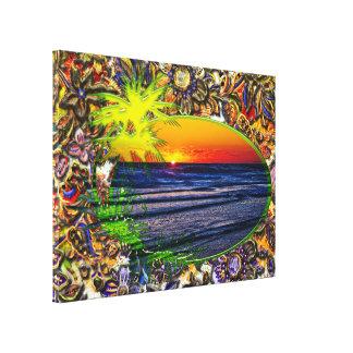 Sunrise over Atlantic Ocean Palms & Tropical Plant Canvas Print