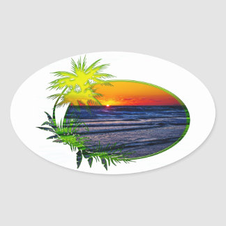 Sunrise over Atlantic Ocean Palms & Tropical Plant Oval Sticker