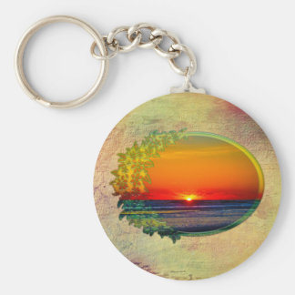 Sunrise Over Atlantic Oval with Flowers Key Chains