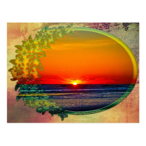Sunrise Over Atlantic Oval with Flowers Postcard