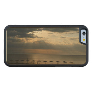 Sunrise over beach in Greece Phone wood case