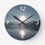 Sunrise over College Fjord Alaska Photography Round Wallclocks