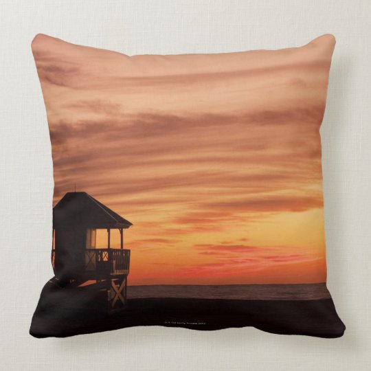 Sunrise over Crandon Beach at Key Biscayne Throw Pillow