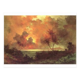 Sunrise Over Diamond Head, oil on canvas painting Postcard