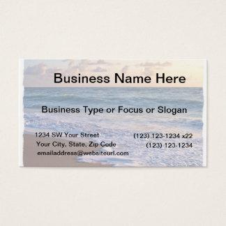 Sunrise over florida beach, ocean slanting business card