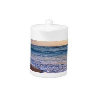 Sunrise over florida beach, ocean slanting teapot