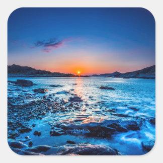 Sunrise Over Horizon At Seashore At Dawn Square Sticker