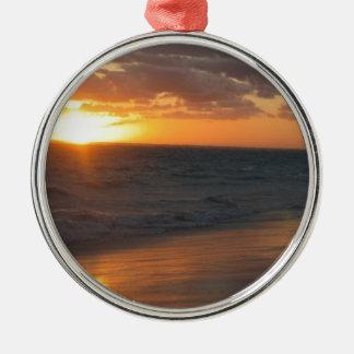 Sunrise over Horizon Round Metal Christmas Ornament
