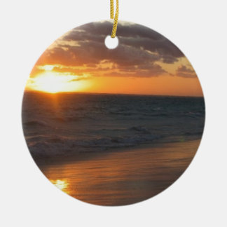 Sunrise over Horizon Double-Sided Ceramic Round Christmas Ornament