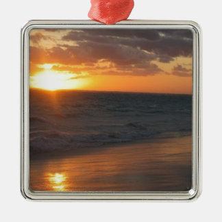 Sunrise over Horizon Square Metal Christmas Ornament