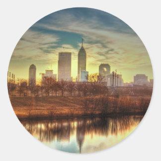 Sunrise over Indianapolis, IN Classic Round Sticker