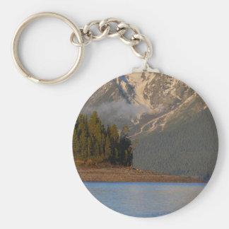 Sunrise Over Lake Basic Round Button Keychain