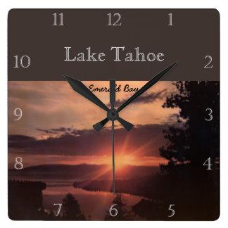 Sunrise Over Lake Tahoe Custom Square Wall Clock