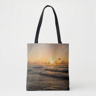 Beach Themed Sunrise over Miami All over print Tote Bag
