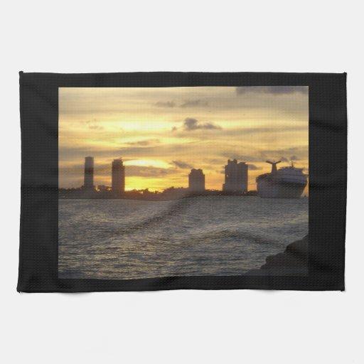 Sunrise Over Miami Kitchen Towel