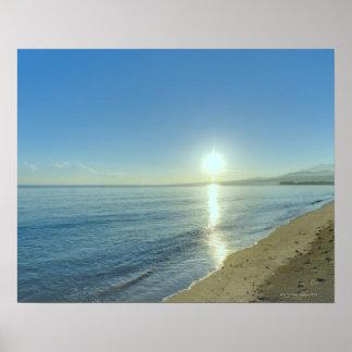 Sunrise over Pristine Tropical Beach Poster
