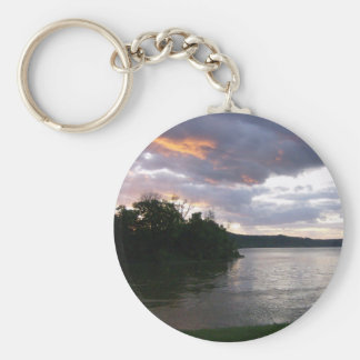 Sunrise Over River at Point Park Basic Round Button Keychain