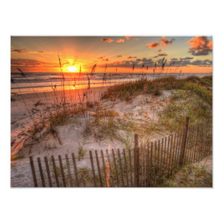 Sunrise Over Sand Dunes in Daytona Beach, FL Photo Print