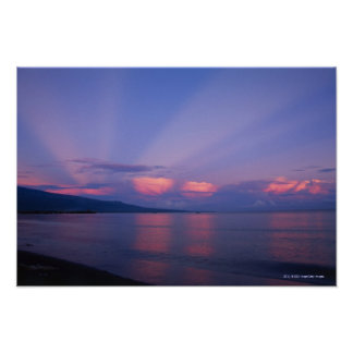 Sunrise over sea poster