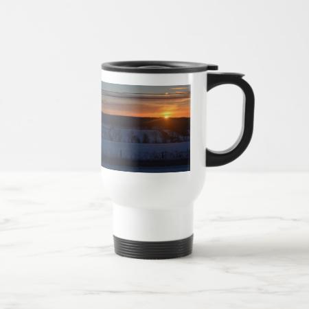 Sunrise over snow coffee mugs