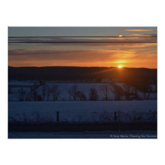 Sunrise over snow poster