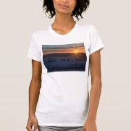Sunrise over snow t shirts