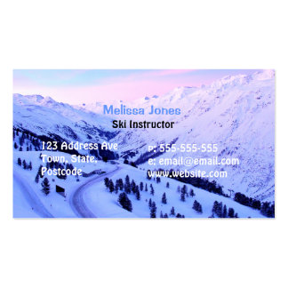 Sunrise over Snowy Mountains Business Card Templates