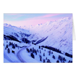 Sunrise over Snowy Mountains Greeting Card