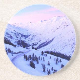 Sunrise over Snowy Mountains Coaster
