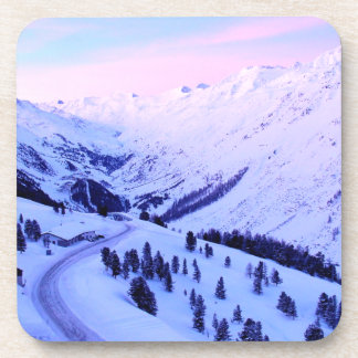 Sunrise over Snowy Mountains Beverage Coasters