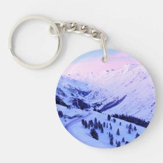 Sunrise over Snowy Mountains Round Acrylic Key Chain