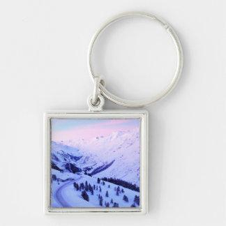 Sunrise over Snowy Mountains Keychain