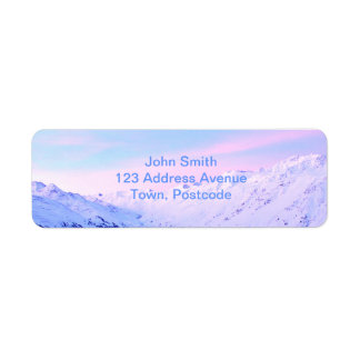 Sunrise over Snowy Mountains Label