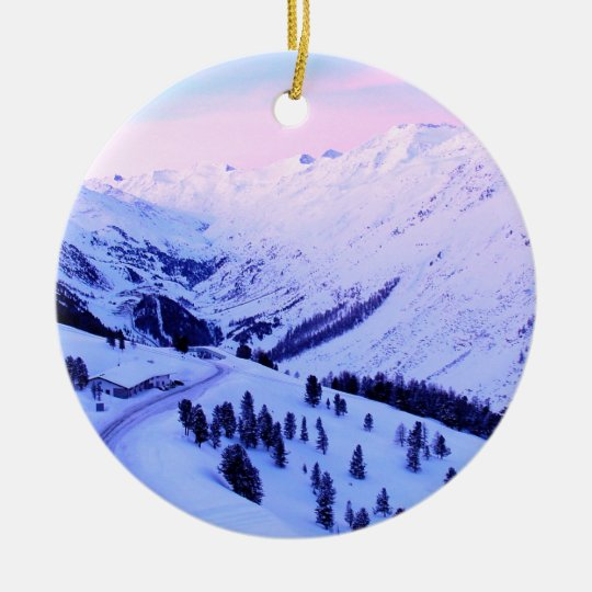Sunrise over Snowy Mountains Ornament